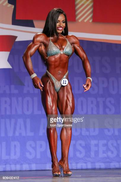 Cydney Gillon competes in Figure International as part of the Arnold Sports Festival on March 2 at the Greater Columbus Convention Center in Columbus...