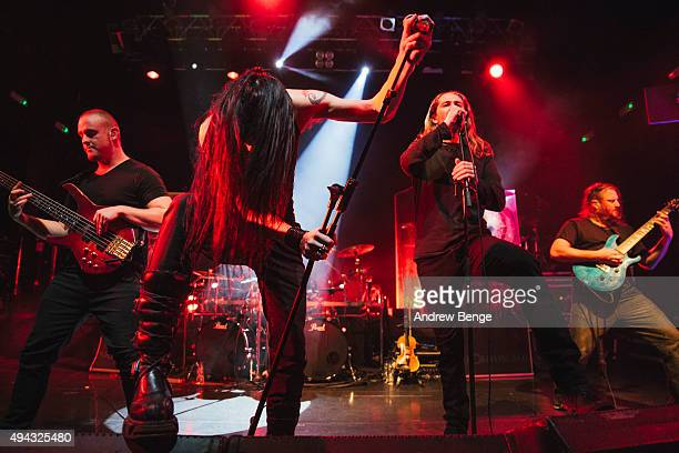 Cygnus Xen Tim Charles and Matt Klavins of Ne Obliviscaris performs on stage at KOKO on October 23 2015 in London England
