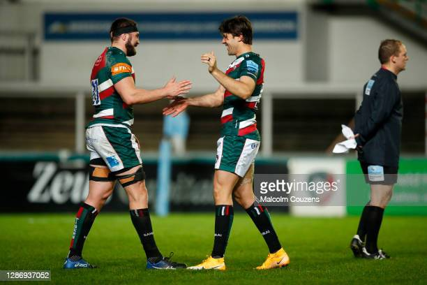 Cyle Brink and Kobus van Wyk of Leicester Tigers celebrate following the Gallagher Premiership Rugby match between Leicester Tigers and Gloucester at...