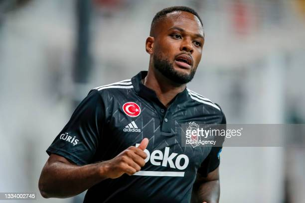 Cyle Christopher Larin of Besiktas reacts during the Super Lig match between Besiktas and Caykur Rizespor at Vodafone Park on August 13, 2021 in...