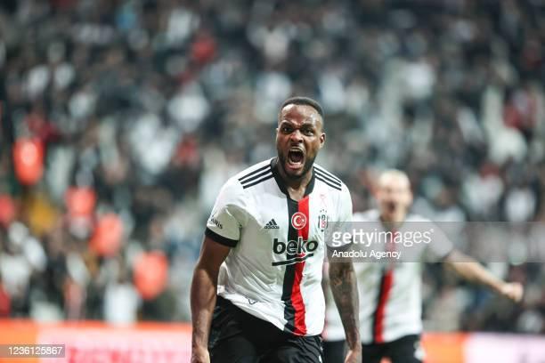 Cyle Larin of Besiktas celebrates after scoring a goal during Turkish Super Lig week 10 soccer match between Besiktas and Galatasaray at NEF Stadium...