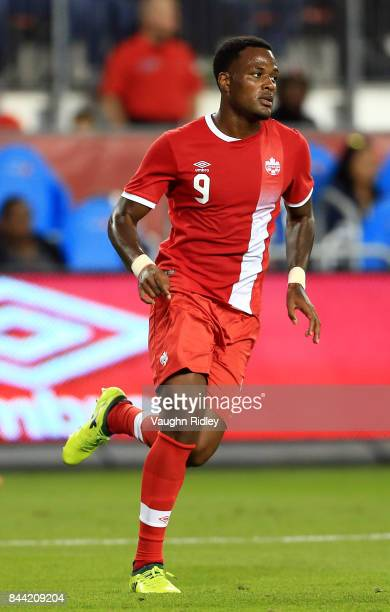 Cyle Larin of Canada during an International Friendly match against Jamaica at BMO Field on September 2 2017 in Toronto Canada