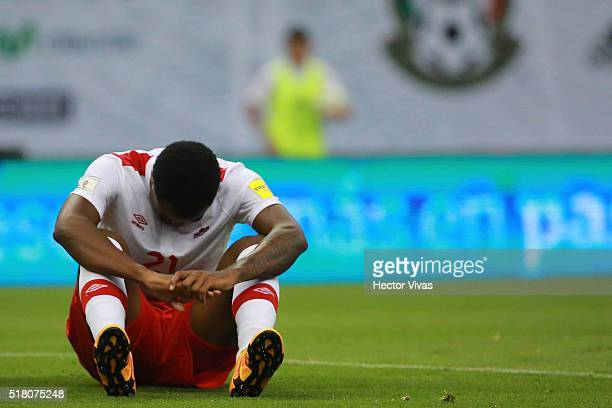 Cyle Larin of Canada reacts during the match between Mexico and Canada as part of the FIFA 2018 World Cup Qualifiers at Azteca Stadium on March 29...