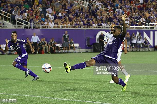 Cyle Larin of Orlando City SC attempts a shot on goal during a MLS soccer match between the Philadelphia Union and the Orlando City SC at the Orlando...