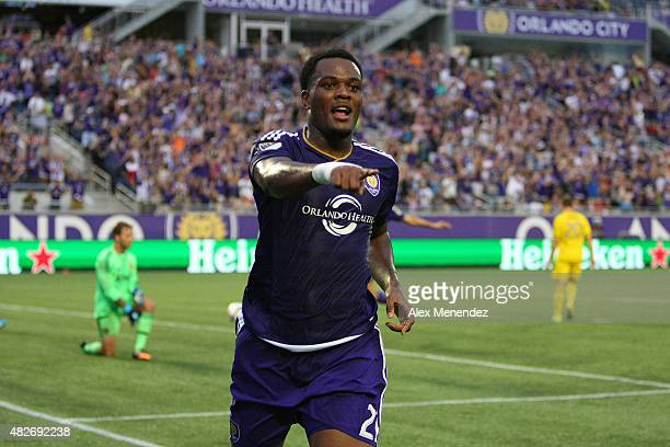 Cyle Larin of Orlando City SC celebrates after scoring a goal against Steve Clark of Columbus Crew SC during a MLS soccer match between the Columbus...