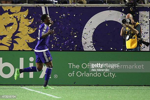 Cyle Larin of Orlando City SC celebrates after scoring a goal on a penalty kick during an international friendly soccer match between Brazil's Ponte...