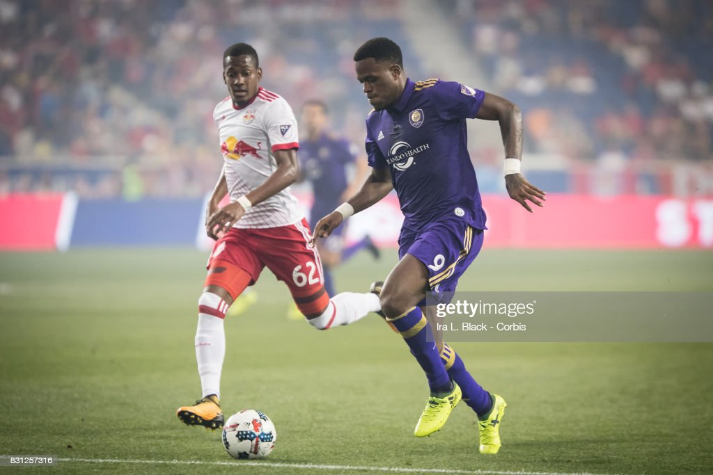 Cyle Larin #9 of Orlando City SC drives to the goal against Michael Murillo #62 of New York Red Bulls during the MLS match between New York Red Bulls and Orlando City SC at the Red Bull Arena on August 12, 2017 in Harrison, NJ. The New York Red Bulls won the match with a score of 3 to 1.