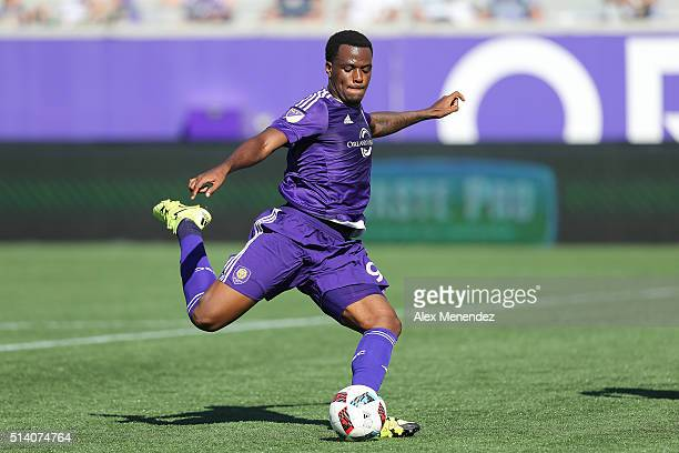 Cyle Larin of Orlando City SC kicks the ball during a MLS soccer match between Real Salt Lake and the Orlando City SC at the Orlando Citrus Bowl on...