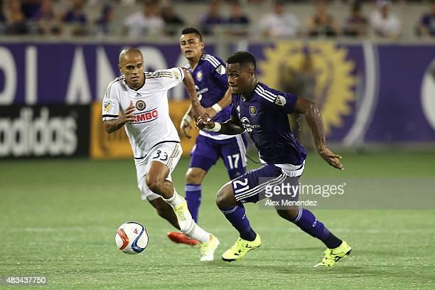 Cyle Larin of Orlando City SC outruns Fabinho of Philadelphia Union during a MLS soccer match between the Philadelphia Union and the Orlando City SC...
