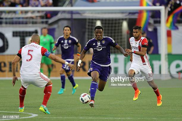Cyle Larin of Orlando City SC runs with the ball during an MLS soccer match between the San Jose Earthquakes and the Orlando City SC at Camping World...