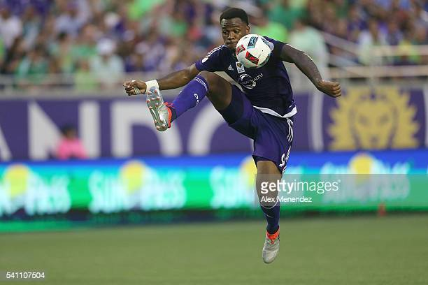 Cyle Larin of Orlando City SC stops the ball during an MLS soccer match between the San Jose Earthquakes and the Orlando City SC at Camping World...