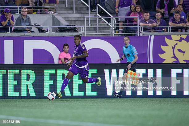 Cyle Larin of the Orlando City SC attacks against the Portland Timbers at the Citrus Bowl on April 3 2016 in Orlando Florida
