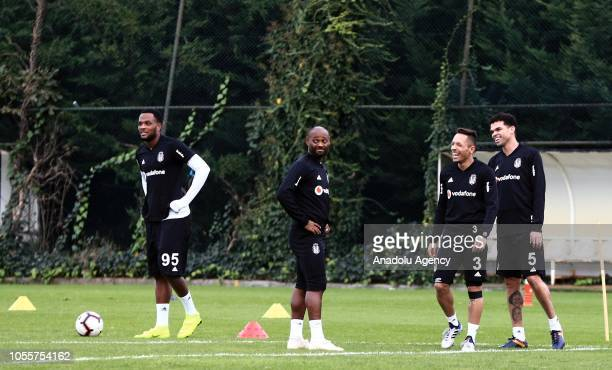 Cyle Larin Vagner Love Adriano Correia and Pepe of Besiktas attend a training session ahead of Turkish Super Lig match against Medipol Basaksehir in...