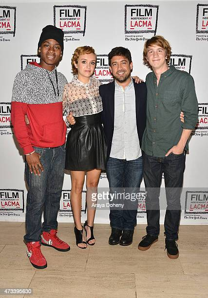 RJ Cyler Olivia Cooke Alfonso GomezRejon and Thomas Mann attend the Film Independent at LACMA special screening of 'Me And Earl And The Dying Girl'...