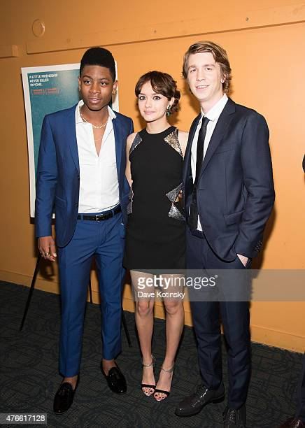 J Cyler Olivia Cooke and Thomas Mann attends the 'Me And Earl And The Dying Girl' New York Premiere at Sunshine Landmark on June 10 2015 in New York...