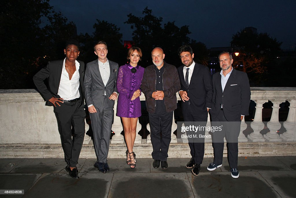 RJ Cyler, Thomas Mann, Olivia Cooke, Brian Eno, director Alfonso Gomez-Rejon and producer Jeremy Dawson attend the UK Premiere of 'Me And Earl And The Dying Girl' during Film4 Summer Screenings at Somerset House on August 19, 2015 in London, England.