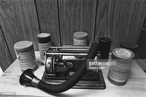 A cylinder model Graphophone on display at the Old Sound Museum Dennis Massachusetts USA 31st October 1978
