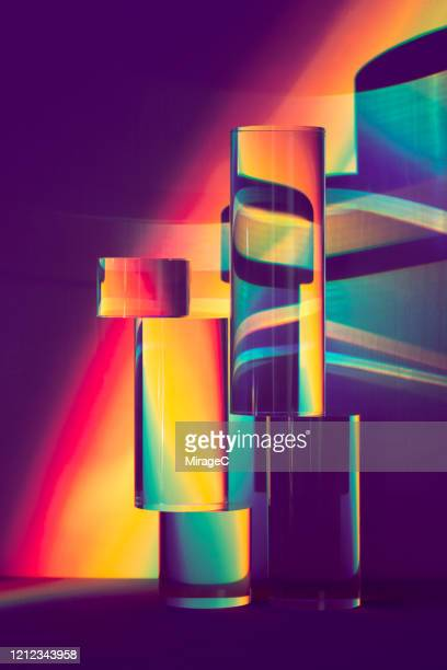cylinder prism refracting spectrum - refraction stock pictures, royalty-free photos & images