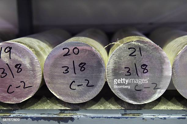 Cylinders of silver sit cooling in the processing room before being made into coins at the Perth Mint in Perth Australia on Thursday Aug 4 2016 The...
