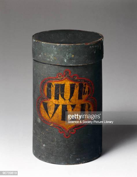 A cylindrical wooden box containing 'powdered mummy' The trade in the powder of embalmed or 'mummified' remains dates back to Egyptian times but...