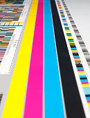 Cyma color guide, yellow, pink, blue, black