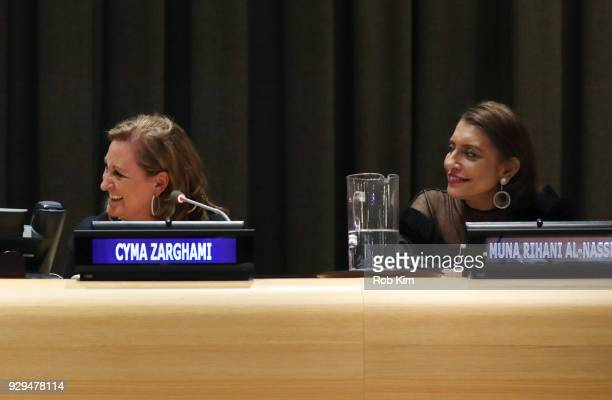 Cyma Zarghami and Muna Rihani AlNasser attend International Women's Day The Role of Media To Empower Women Panel Discussion at the United Nations on...