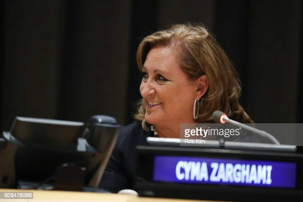 Cyma Zarghami attends International Women's Day The Role of Media To Empower Women Panel Discussion at the United Nations on March 8 2018 in New York...