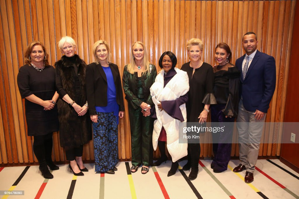 Cyma Zarghami, Joanna Coles, Edie Falco, Barbara Winston, Cicely Tyson, Joan Lunden, Muna Rihani Al-Nasser and Sherwin Bryce-Pease attend International Women's Day The Role of Media To Empower Women Panel Discussion at the United Nations on March 8, 2018 in New York City.