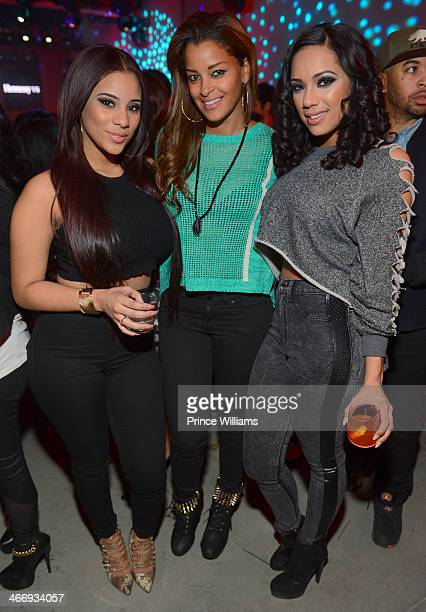 Cyn Santana Claudia Jordan and Erica Mena attend the Never Stop Never Settle party at Spring Studios on February 2 2014 in New York City