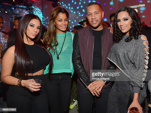 Cyn Santana Claudia Jordan Patrick Richards and Erica Mena attends the Never Stop Never Settle party at Spring Studios on February 2 2014 in New York...