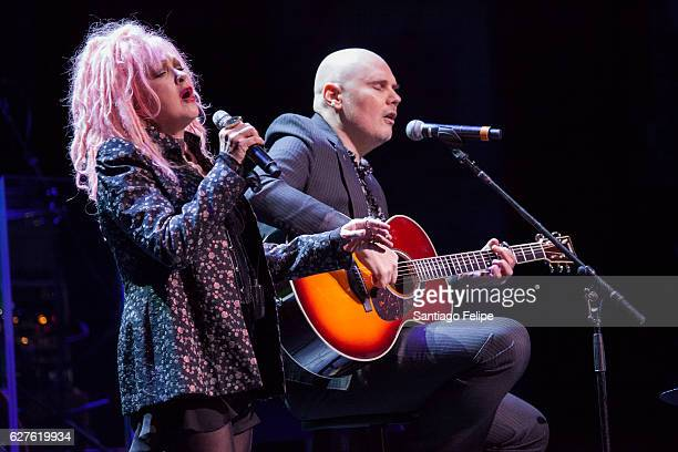 Cyndi Lauper and Billy Corgan perform onstage during the 6th Annual Home For The Holidays Concert at Beacon Theatre on December 3 2016 in New York...