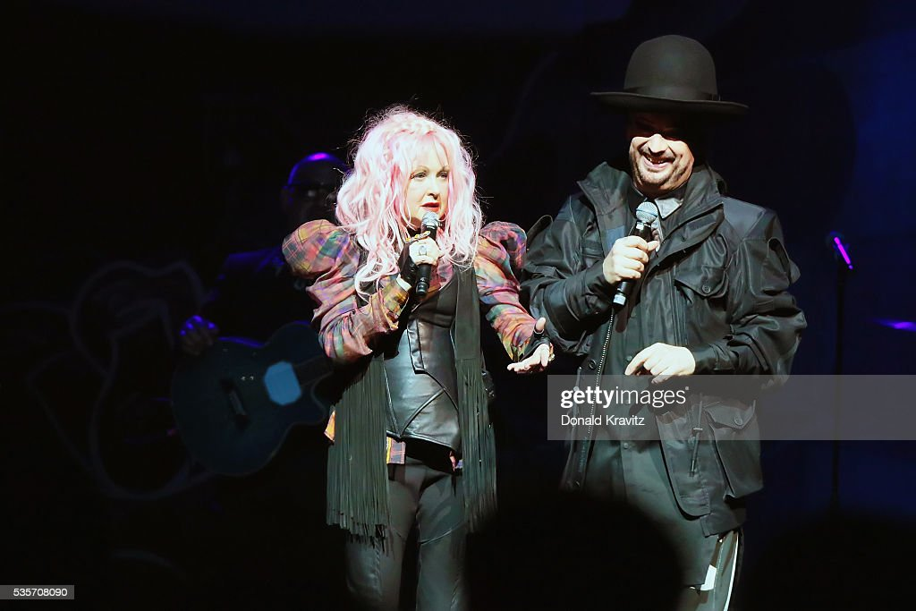 Cyndi Lauper and Boy George perform together as part of the Cyndi Lauper & Boy George In Concert with guest Rosie O'Donnell at The Borgota Hotel Casino & Spa on May 29, 2016 in Atlantic City, New Jersey.