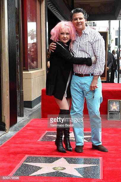 Cyndi Lauper and David Thornton attend a ceremony honoring Cyndi Lauper And Harvey Fierstein with a double star ceremony on The Hollywood Walk Of...