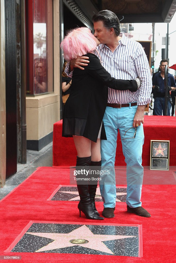 Cyndi Lauper and David Thornton attend a ceremony honoring Cyndi Lauper And Harvey Fierstein with a double star ceremony on The Hollywood Walk Of Fame on April 11, 2016 in Hollywood, California.