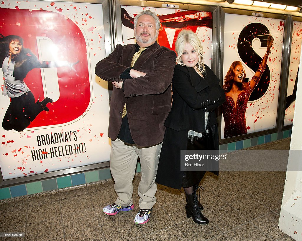 Cyndi Lauper and Harvey Fierstein attend Broadway's 'Kinky Boots' Everybody Say Yeah Ad Unveiling in Times Square on April 2, 2013 in New York City.