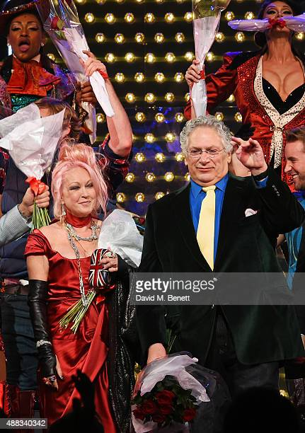 Cyndi Lauper and Harvey Fierstein bow at the curtain call during the Kinky Boots opening night at The Adelphi Theatre on September 15 2015 in London...