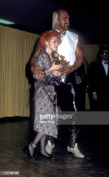 Cyndi Lauper and Hulk Hogan during Grammy Awards February 26 1985 in Los Angeles CA United States