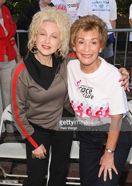 Cyndi Lauper and Judge Judy Sheindlin attend the 2009 Koman New York City Race For The Cure in Central Park on September 13 2009