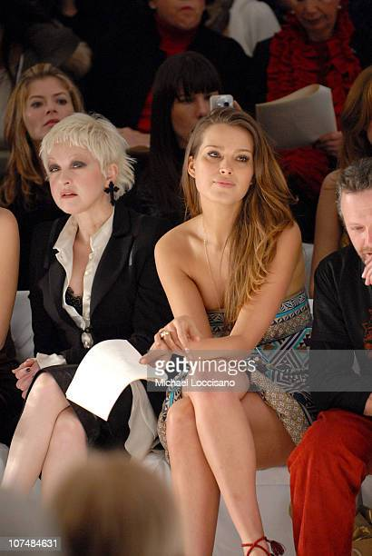 Cyndi Lauper and Petra Nemcova during MercedesBens Fashion Week Fall 2007 Nicole Miller Front Row at The Promenade in New York City New York United...