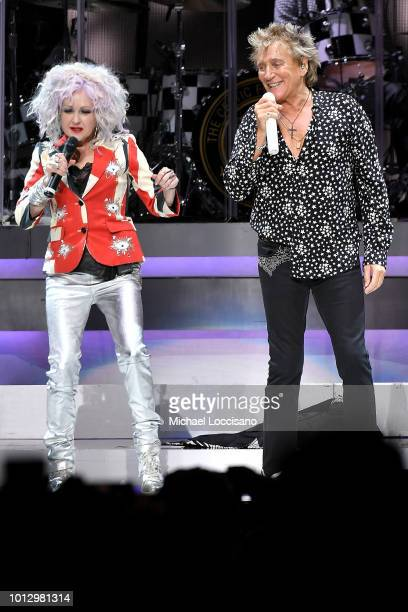 Cyndi Lauper and Rod Stewart perform at Madison Square Garden on August 7 2018 in New York City