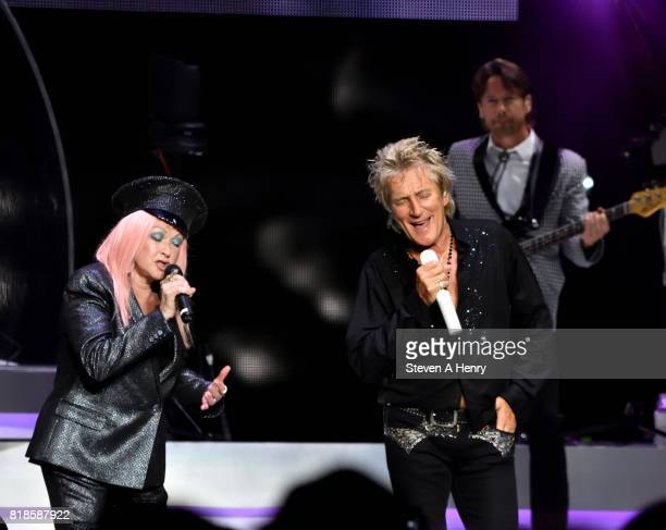Cyndi Lauper and Rod Stewart perform at Northwell Health at Jones Beach Theater on July 18 2017 in Wantagh New York