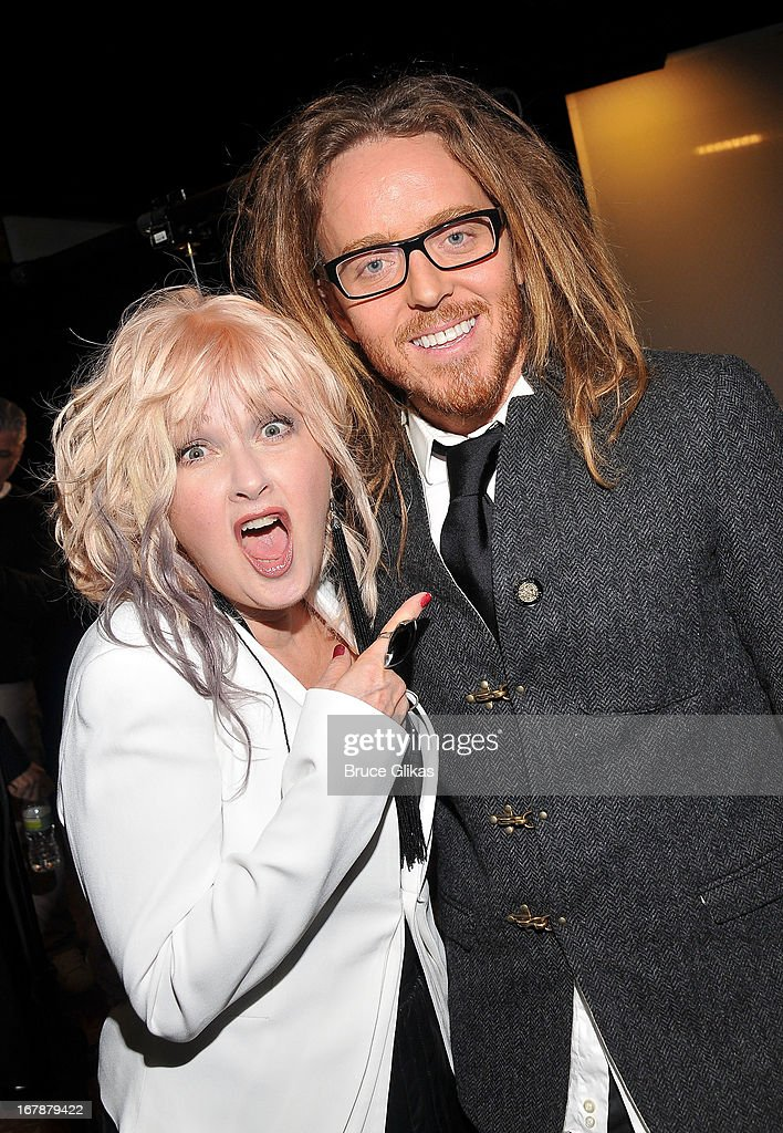 Cyndi Lauper and Tim Minchin attend the 2013 Tony Awards: The Meet The Nominees Press Junket at the Millenium Hilton on May 1, 2013 in New York City.