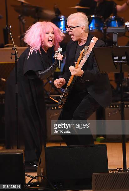 Cyndi Lauper and Tony Visconti perform 'Suffragette City' onstage at Michael Dorf Presents The Music of David Bowie at Carnegie Hall at Carnegie Hall...