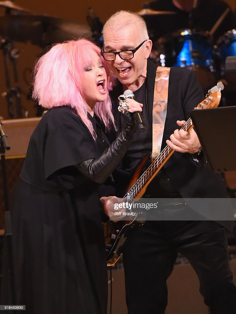 Cyndi Lauper and Tony Visconti perform 'Suffragette City' onstage at Michael Dorf Presents - The Music of David Bowie at Carnegie Hall at Carnegie Hall on March 31, 2016 in New York City.