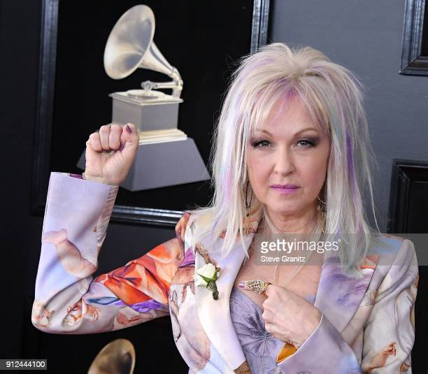 Cyndi Lauper arrives at the 60th Annual GRAMMY Awards at Madison Square Garden on January 28 2018 in New York City