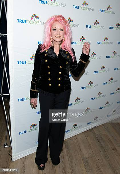 Cyndi Lauper attends the 5th Annual Cyndi Lauper and Friends Home For The Holidays benefit concert at The Beacon Theatre on December 5 2015 in New...