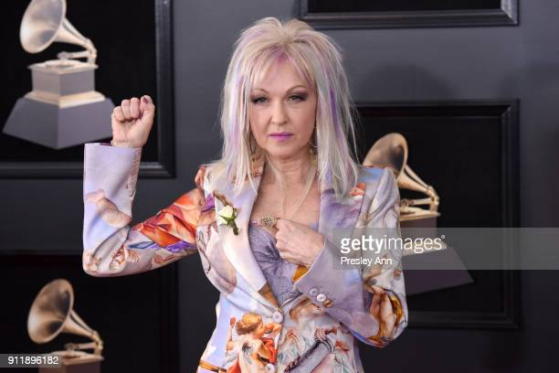 Cyndi Lauper attends the 60th Annual GRAMMY Awards Arrivals at Madison Square Garden on January 28 2018 in New York City