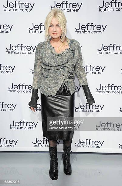 Cyndi Lauper attends the Jeffrey Fashion Cares 10th Anniversary Celebration at The Intrepid on April 2 2013 in New York City