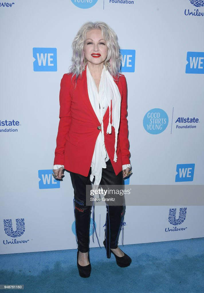 Cyndi Lauper attends WE Day California at The Forum on April 19, 2018 in Inglewood, California.