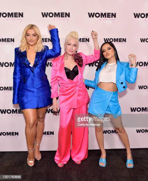 Cyndi Lauper Bebe Rexha Becky G attend the 3rd Annual Women in Harmony PreGrammy Luncheon with Host Bebe Rexha on January 24 2020 in Los Angeles...